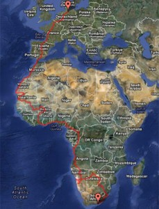 GPS Tracking Road to South Africa