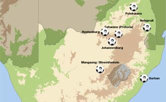 Spielorte WM 2010 Südafrika